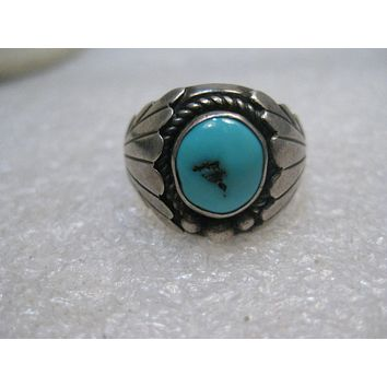 Vintage Southwestern Sterling Turquoise Ring, Navajo, Size 11, 10.05 grams, Shadowbox, Unisex