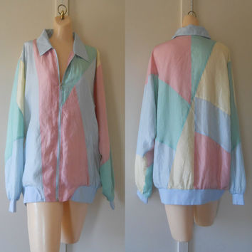 Silk Windbreaker 80s Windbreaker Jacket Silk Jacket Bomber 80s Jacket Pastel Jacket Women Windbreaker Light Jacket Womens Jacket 80s Clothes