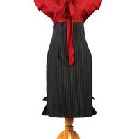 Red Silk Cap Sleeve Dress with Black and White Pin Striped Skirt