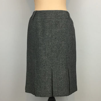 Gray Skirt Flared Pleated Skirt Size 6 Wool Skirt Gray Tweed Fall Winter Knee Length Skirt Office FREE SHIPPING Size Small Womens Clothing