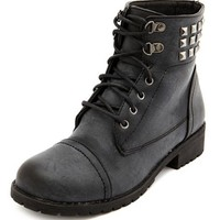Lace-Up Pyramid Stud Ankle Bootie: Charlotte Russe