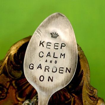 Keep Calm Spoon Plant Garden Marker by monkeysalwayslook on Etsy