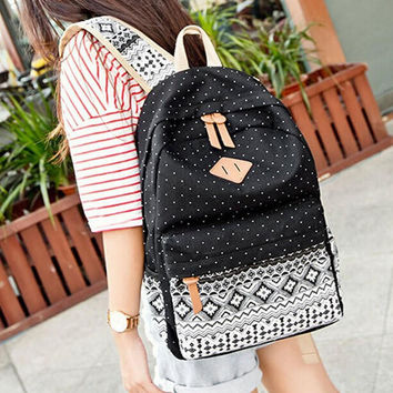 Women's Black Polka Dots Backpack for College Bookbag for Teen Girls School Bag + free gift elephant ring