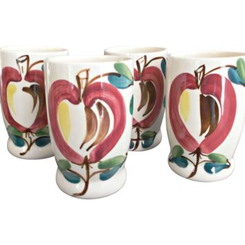 Purinton Pottery Apple Tumblers Four Vintage Kitchenware