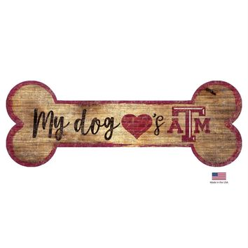 Texas A&M Aggies Distressed Dog Bone Wooden Sign