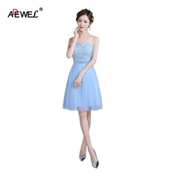 ADEWEL Cute Blue Women Summer Short Mesh Lace Party Dress Wedding Wear Gown short special occasion dresses