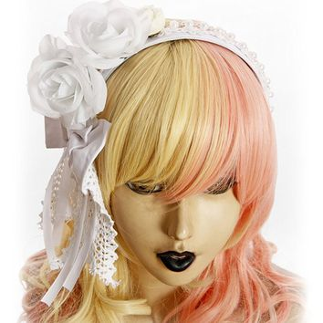 Exclusive Vintage Gothic Elegant Lolita Handmade Pearl Side Rose Bow Headdress