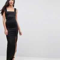 ASOS TALL Square Neck Scuba Maxi Dress With Thigh Split at asos.com