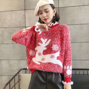 Thermal Fluffy Ruffle Reindeer Christmas Sweater