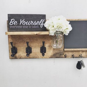 Entryway Organizer with Blackboard (FLOWERS INCLUDED), Coat Hanger, Farmhouse Decor