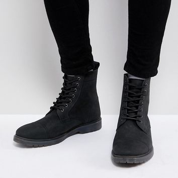 ASOS Wide Fit Lace Up Boots In Black Leather With Ribbed Sole at asos.com
