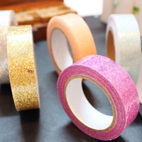 High Quality 5 meters Craft Glitter Washi Tape Book Decor DIY Scrapbooking Paper Sticker Gift Packing