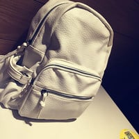 Water Washed Soft Leather Vintage Backpack Daypack School Bag