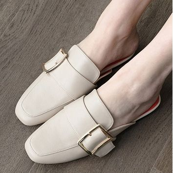 The new style flat heel baotou versatile with flip-flops SHOES