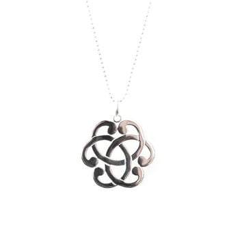 Long Abstract flower necklace