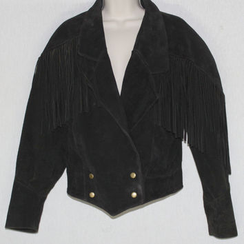 Vintage 1980's Size Small Boho Hippie Rocker Western Fringe Suede Leather Jacket