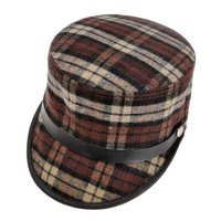 ZLYC Unisex Fashion Plaid Leopard Print PU Belt Military Style Lint Hat Cap Brown