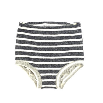 FRENCH TERRY HIGH WAISTED SHORTIES - NAVY AND CREAM STRIPE