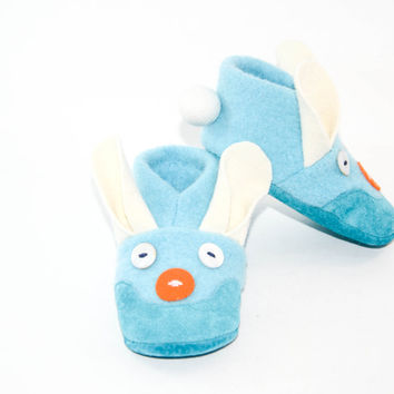Boy Bunny Shoes, Kids Bunny Slippers, Easter Bunny Baby, Wool Bunny Shoes. Size:  Baby 12-24M