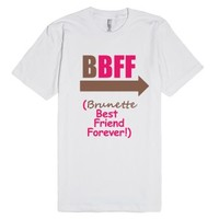 Brunette BFF (Tee - Left Arrow)-Unisex White T-Shirt