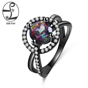 ZHE FAN Round Rainbow Synthetic Quartz Ring Black Plating Cubic Zirconia Halo Vintage Jewelry For Women Christmas Gift Size 5-10