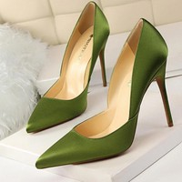 Solid Silk Sexy Pointed Toe Thin High Heels