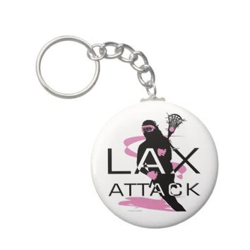 Lacrosse Girls LAX Attack Pink Key Chains from Zazzle.com