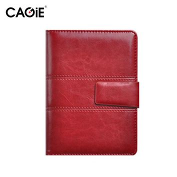 CAGIE Leather Notebook Vintage Magnetic Buckle Office Business Spiral Planner Organizer 2017,2018 Calendar Personal Diary Binder