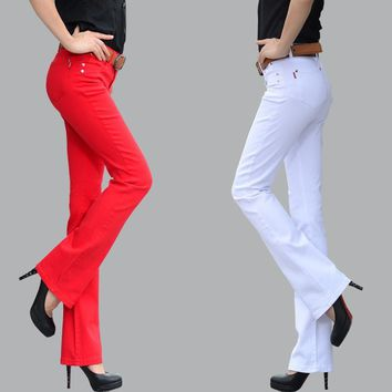 2017 autumn casual pants female trousers elastic flare trousers lager size. female boo