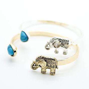 Elephant turquoise bangle