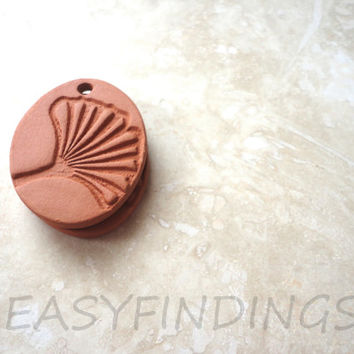 Aromatherapy Essential Scented Oil Diffuser, Gingko Pendant, Natural Eco Friendly Jewelry, DIY, Terracotta Bisque Ceramics Unglazed,