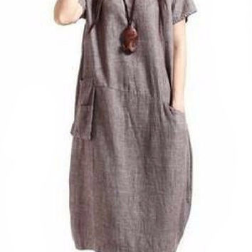 Brown Vintage Women Casual Cotton Linen Dress Loose
