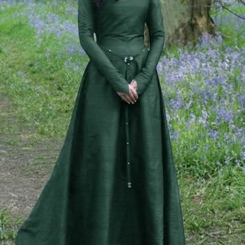 New Green Draped Rivet Zipper Sashes V-neck Long Sleeve Elegant Maxi Dress