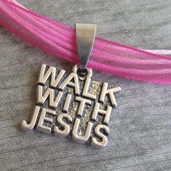 Walk With Jesus Necklace, Personalize Your Style, Religious Antique Silver Color Word Charm, Faith Necklace, Christian Jewelry