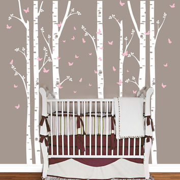 Huge Removable Birch Tree Butterfly Vinyl Wall Sticker Wall Art Decals Wall Stickers Baby Nursery Bedroom Decoration Home Decor