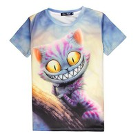 DCCKH6B Hot Cheshire Cat 3D Print T-shirt Smile Kitty Cotton Unisex Costume Summer Tee Alice in Wonderland Shirts Casual Homme Tops