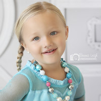 #22 Frozen Elsa Inspired Bottlecap Bubblegum Chunky Necklace