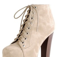 Make Me Chic Meoww Tan Suede Wooden Heel Booties shop Boots at MakeMeChic.com