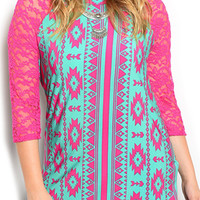 Fuchsia Mint Plus Size Trendy Sheer Tribal Lace Baseball Top