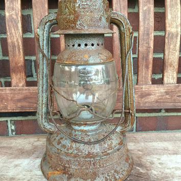 Large Vintage Latern NIER latern made in Germany. 1940s, Home Decor, Rustic, Camping, Farmhouse, Rusty,Lighting,Oil Lamp,Railroad.