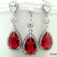 Red Ruby Earrings Wedding Earrings and Necklace Set  Bridal Jewelry Red Earrings Wedding Jewelry Post Earrings Sterling silver Necklace