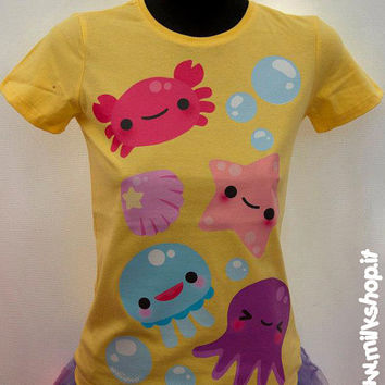 Kawaii Jellyfish Octopus Starfish Crab t-shirt