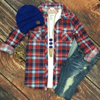 Penny Plaid Flannel Top: Red/B.Blue