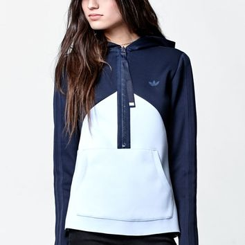 adidas Helsinki Authentic Half Zip Pullover Hoodie - Womens Hoodie - Blue