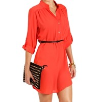 Coral Mock Collar Belted Tunic