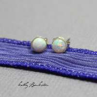 Tiny Opal Stud Earrings 4mm
