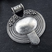 Nepalese Style Oval Artisan Heart Pendant Ethnic Tribal Pattern Rajasthan - Matte Antique Silver Plated - 1pc