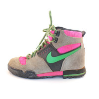 RARE Vintage Retro Women's Nike Lava Dome Neon Pink/Green Hiking Boots Shoes