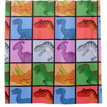 Dinosaur Squares Shower Curtain
