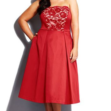 Plus Size Women's City Chic 'Perfect 10' Lace Inset Strapless Fit & Flare Dress,